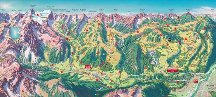 Wandergebiet und Bergbahnenkarte Brandnertal