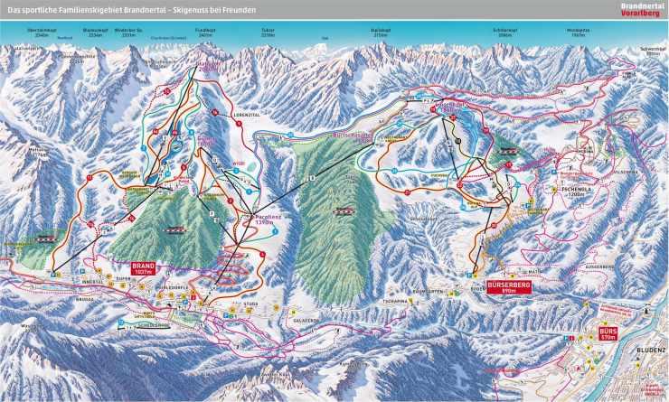 Pistenplan, Skiurlaub in Vorarlberg, Österreich