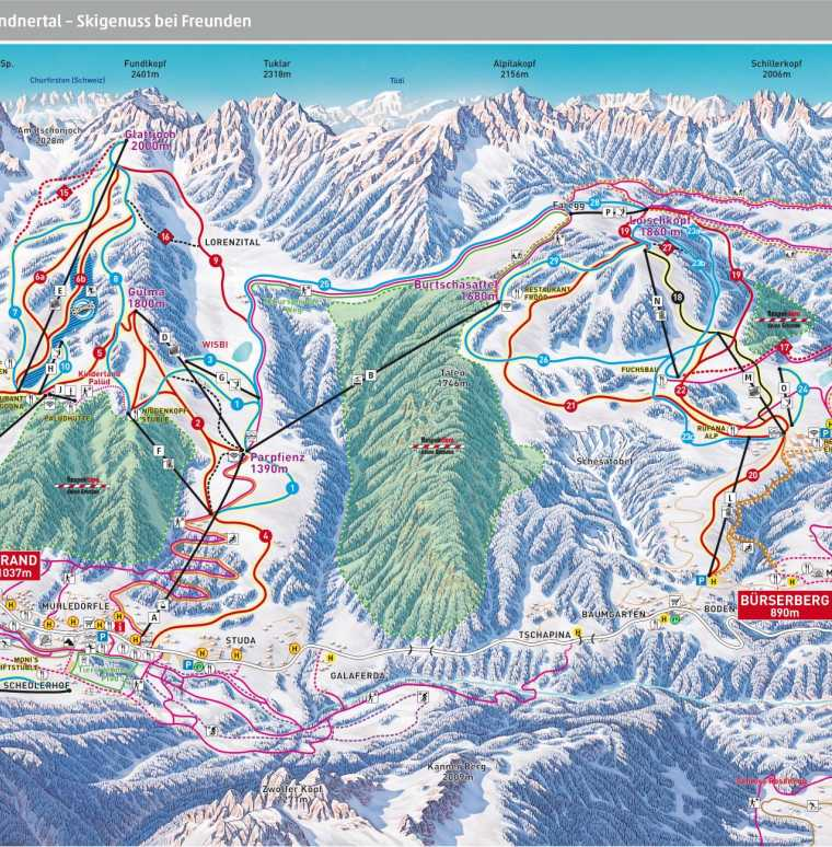 Skifahren, Skiferien, Familienurlaub im Skigebiet, Brandnertal, Vorarlgerg, Österreich
